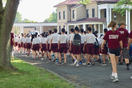 Our cadets march around the Quad, led by Sgt. Ingram
